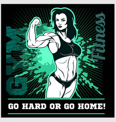 Girl power the factory girl with biceps woman vector