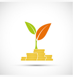 Golden coins with a green plant with leafs vector