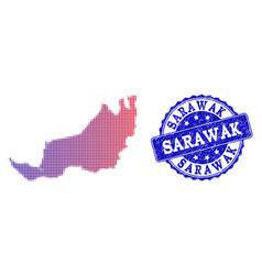 Halftone gradient map of malaysian sarawak and vector
