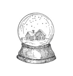 Hand drawn christmas snow ball with toy house vector