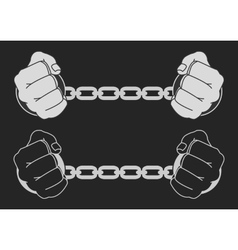 Hands in strained steel handcuffs Dark vector