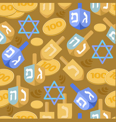 hanukkah seamless pattern jewish holiday vector image