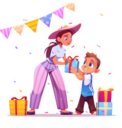 Happy birthday party mother give gift to boy vector