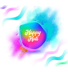 happy holi color wave poster on white background vector image