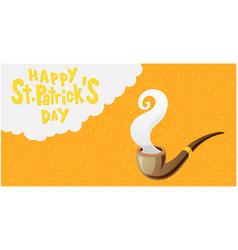 happy st patrick s day pipe orange background vect vector image