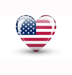Heart-shaped icon with national flag of the USA vector