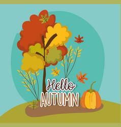 Hello autumn season flat design vector