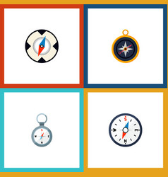 Icon flat direction set of compass divider vector