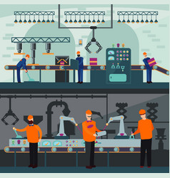 Industrial manufacturing plant horizontal banners vector