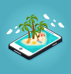 isometric beach vacation mobile concept vector image