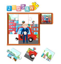 Jigsaw pieces of businessman and car vector