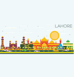 lahore skyline with color landmarks and blue sky vector image