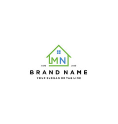 Letter mn home logo design vector