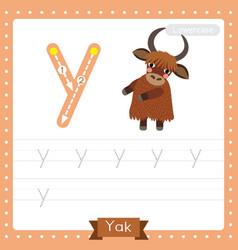 Letter y lowercase tracing practice worksheet yak vector