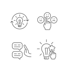 Logical and rational thinking linear icons set vector
