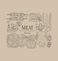 Meat banner vector