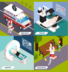 Medical technologies isometric concept vector