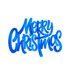 merry christmas acrylic paint brush lettering vector image