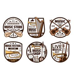 Music instruments shop classic and jazz sound vector