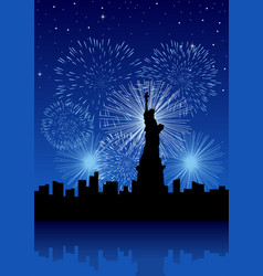 New york city with fireworks vector
