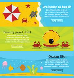 Ocean life banner horizontal set flat style vector