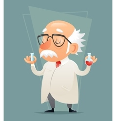 Old Scientist with Test-tube Icon Retro Cartoon vector