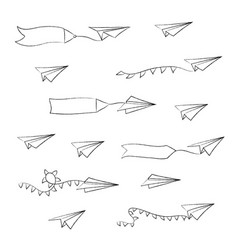 paper airplane and blank advertising banner vector image