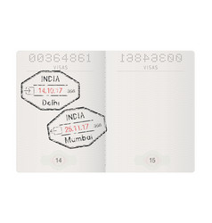 passport pages with stamp of delhi and mumbai vector image