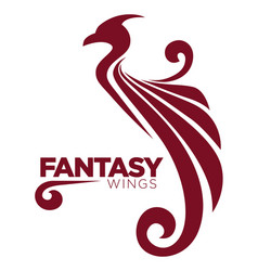Phoenix bird or fantasy eagle logo template for vector