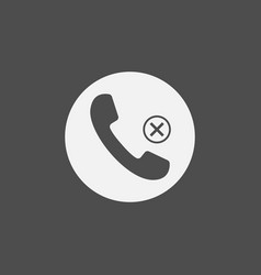 phone icon missed call sign gray on white vector image