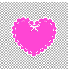 Pink paper cut heart sticker with white lacing vector