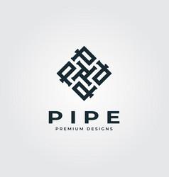 pipe square logo letter p minimalist plumber vector image