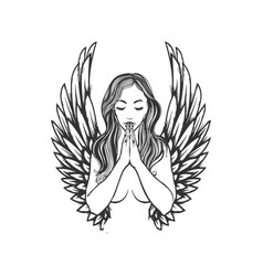 praying angel tattoo design pretty woman praying vector image