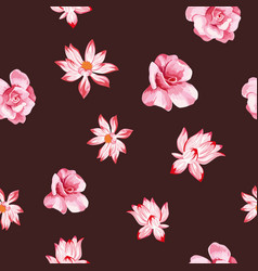 rose lotus seamless dark red background vector image