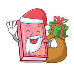 Santa with gift diary mascot cartoon style vector