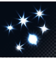 Set of glow effect stars vector