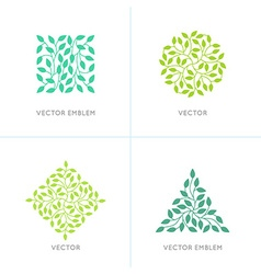 Set of organic and natural logo design templates vector
