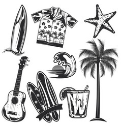 Set surfing elements vector