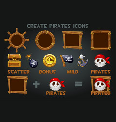set to create pirated icons and wooden frames vector image