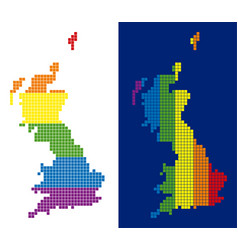 spectrum pixel dotted great britain map vector image
