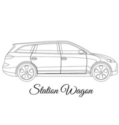 Station wagon car body type outline vector