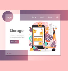 Storage website landing page design vector