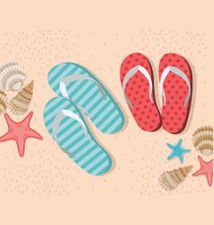 Summer flip flops in beach design vector