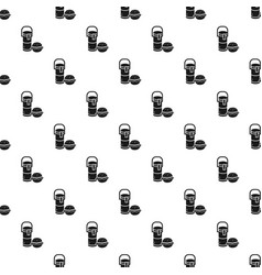 thermos drink burger lunch pattern seamless vector image
