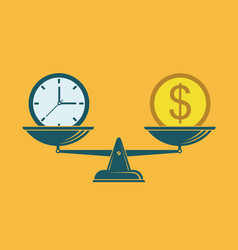 Time is money on scales vector