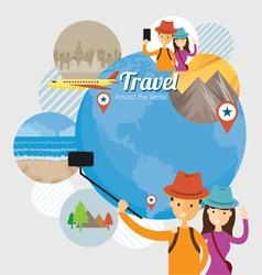 Tourist Traveler Selfie with Smartphone Travel vector image
