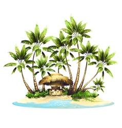 Tropical island in ocean vector