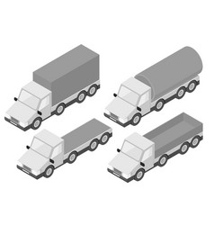 Trucks collection of gray isometric vehicles vector