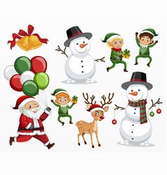 variety christmas characters set vector image