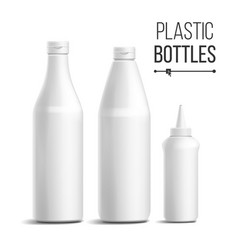 white bottle set 3d realistic blank vector image
